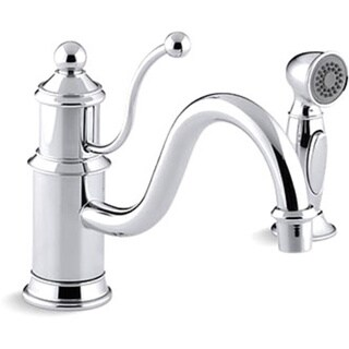 Kohler K-169-CP Polished Chrome Antique Single-Control Kitchen Sink Faucet With Color-Matched Sidespray