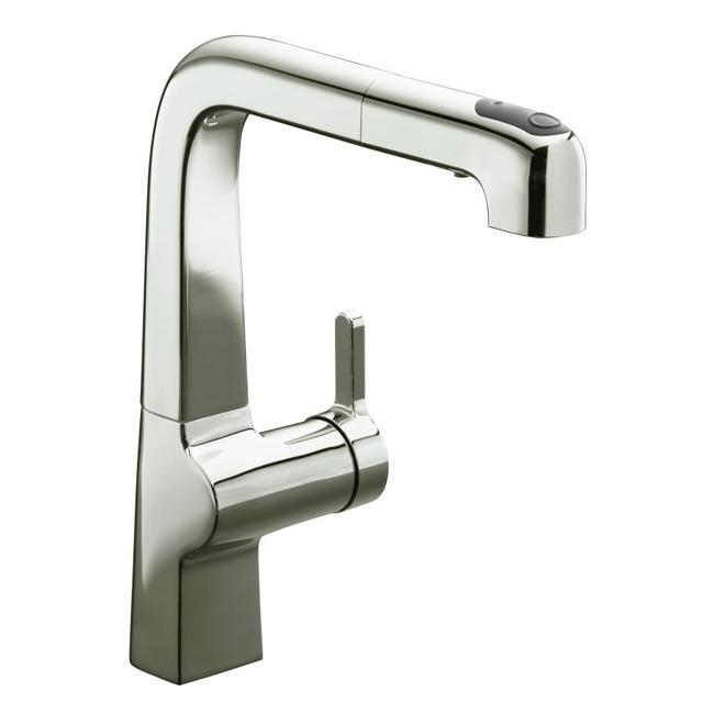 Kohler K-6331-SN Vibrant Polished Nickel Evoke Single-Control Pullout Kitchen Faucet