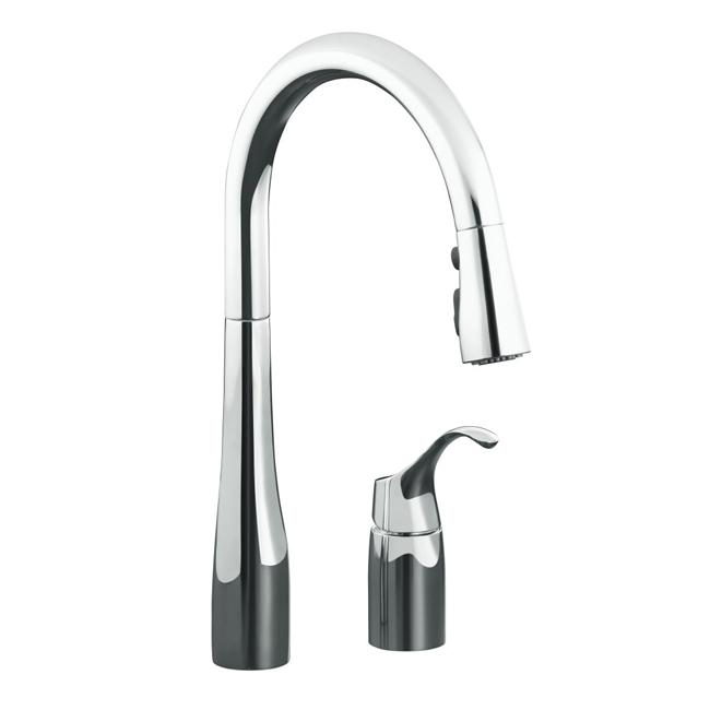 sink faucet kohler k 647 cp polished chrome simplice pull down kitchen sink