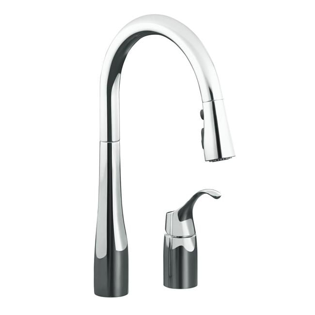 Kohler K-647-CP Polished Chrome Simplice Pull-Down Kitchen Sink Faucet