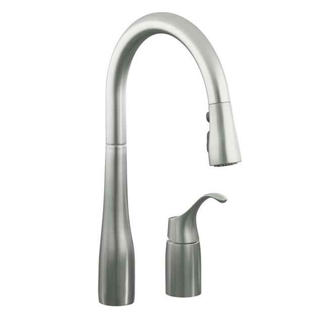 Kohler K 647 Simplice Two Hole Kitchen Sink Faucet With Pull Down Swing