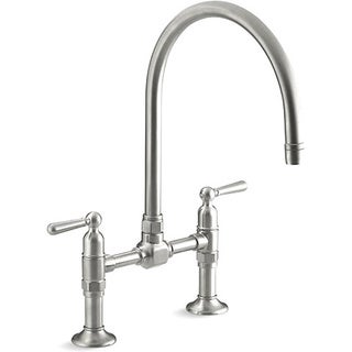 Kohler K-7337-4-BS Brushed Stainless Hirise Stainless Deck Mount Bridge Kitchen Faucet