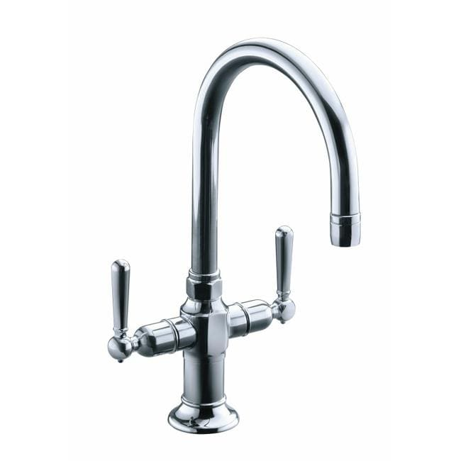 Kohler K-7342-4-S Polished Stainless Hirise Stainless Two Handle Bar Sink Faucet