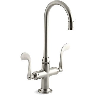 Kohler K-8761-BN Vibrant Brushed Nickel Essex Entertainment Sink Faucet With Wristblade Handles