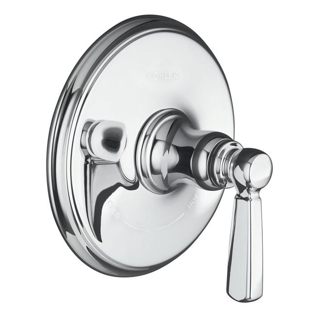 Kohler K-T10593-4-CP Polished Chrome Bancroft Thermostatic Trim With Metal Lever Handle, Valve Not Included