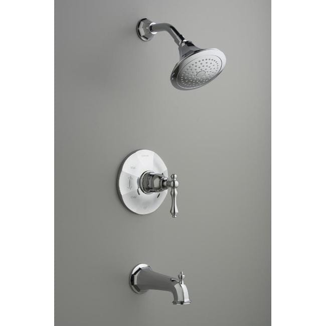 Kohler K-T13492-4-CP Polished Chrome Kelston Rite-Temp Pressure-Balancing Bath And Shower Faucet Tri