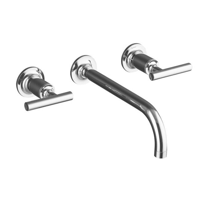 "Kohler K-T14414-4-CP Polished Chrome Purist Two-Handle Wall-Mount Lavatory Faucet Trim With 9"", 90-Degree Angle Spout And Lever"
