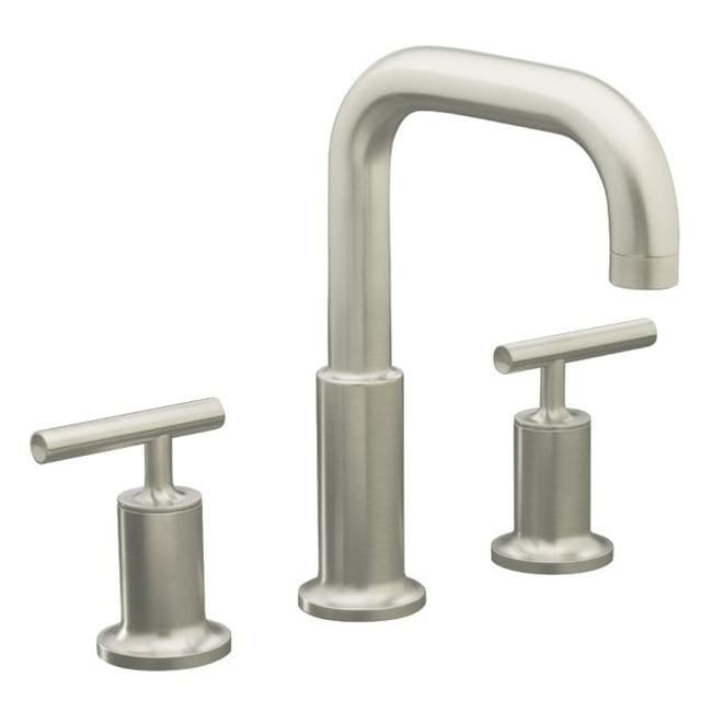 Kohler K-T14428-4-BN Vibrant Brushed Nickel Purist Deck-Mount High-Flow Bath Faucet Trim With Cross Handles, Valve Not Included