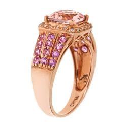 D'Yach 14k Rose Gold Morganite, Pink Sapphire and 1/10ct TDW Diamond Ring (I-J, I1-I2)