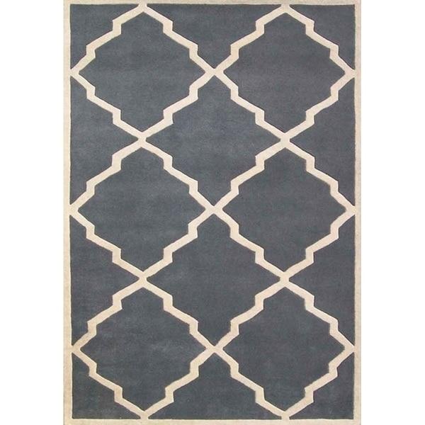 Alliyah Handmade Bluish-Grey New Zealand Blend Wool Rug - 8' x 10'