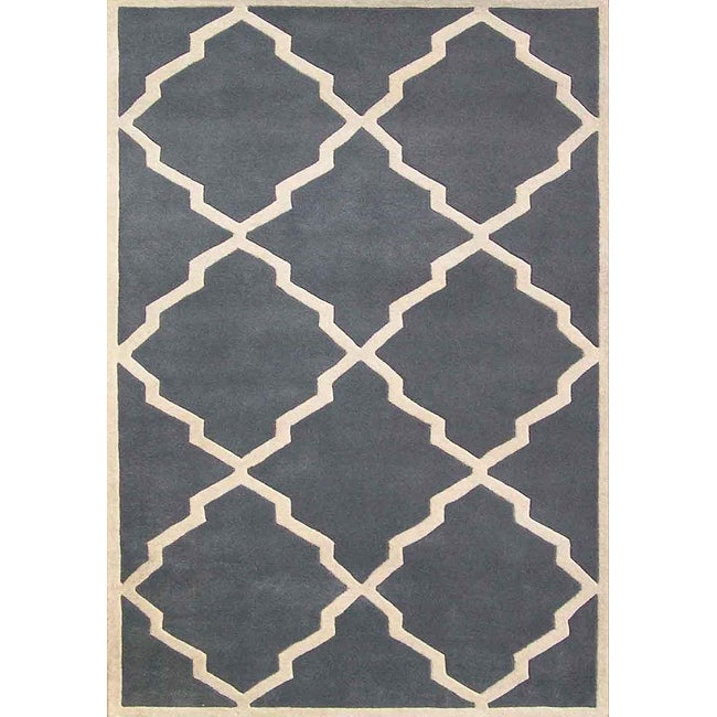 Alliyah Handmade Bluish-Grey New Zealand Blend Wool Rug (8' x 10') - Thumbnail 0