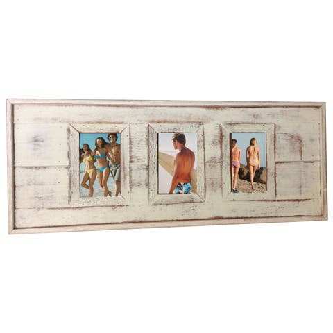 Handmade Recycled Boatwood 3-Window Picture Frame (Thailand)