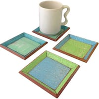 Handmade Set of 4 Recycled Wood Coastlife Drink Coasters (Thailand)