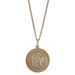 Sterling Essentials 14K Gold over Silver St. Christopher Necklace