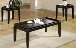 Oak Black Espresso Table Set - Thumbnail 1