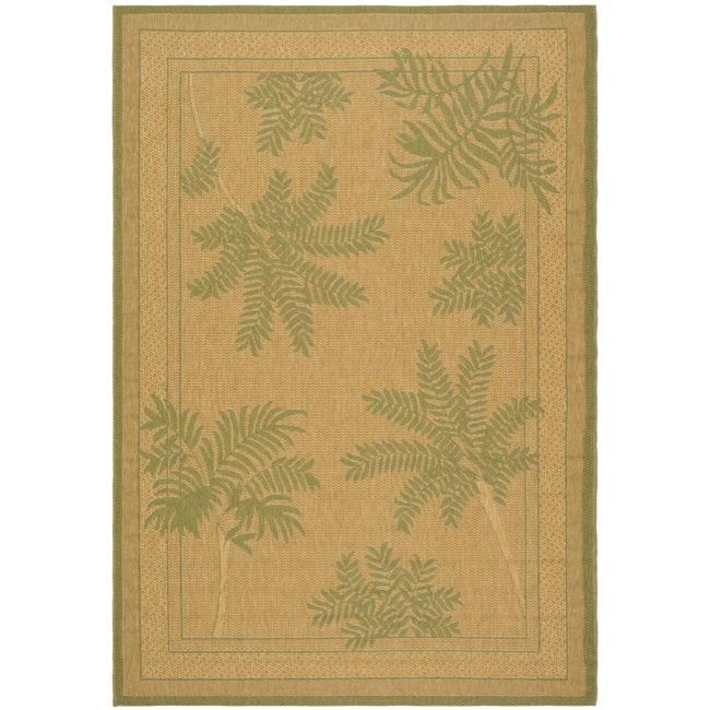 Safavieh Indoor/ Outdoor Natural/ Green Rug (9' x 12')
