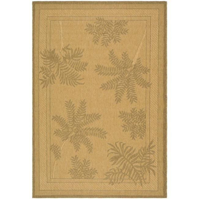 Safavieh Courtyard Ferns Natural/ Gold Indoor/ Outdoor Rug (9' x 12') - Thumbnail 0