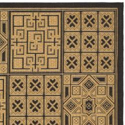 Safavieh Indoor/ Outdoor Black/ Natural Rug (8' 11 x 12' RECTANGLE)