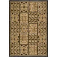 Safavieh Indoor/ Outdoor Black/ Natural Rug - 8'11 x 12'