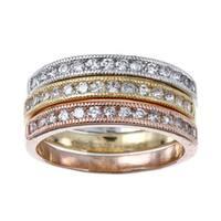 La Preciosa Sterling Silver Stackable 3-tone Cubic Zirconia Ring Set (Set of 3)