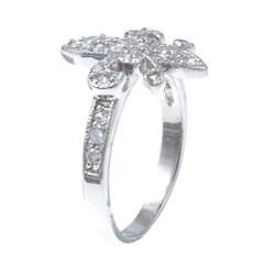 La Preciosa Sterling Silver Cubic Zirconia Fleur de Lis Ring - Thumbnail 1