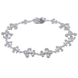 La Preciosa Sterling Silver Cubic Zirconia Fleur de Lis Bracelet
