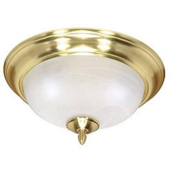 Energy Star 2-light Brass Alabaster Glass Flush Mount Light