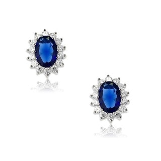 La Preciosa Sterling Silver Oval Blue Sapphire Cubic Zirconia Diana Earrings
