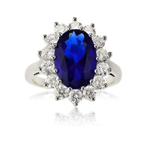 La Preciosa Sterling Silver Oval Created Blue Sapphire Bridal Engagement Princess Diana/Kate Middleton Ring