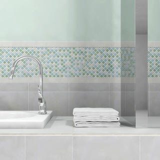 SomerTile 12x12-in View Square 1-in Fresh Glass Mosaic Tile (Case of 20)