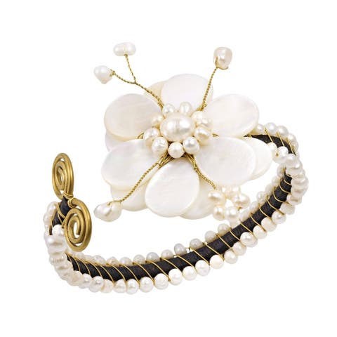Handmade Cotton Rope MOP and Pearl White Flower and Brass Swirl Cuff (Thailand)