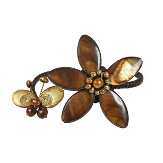 Handmade Cotton White/ Brown/ Purple Shell and Pearl Flower/ Butterfly Cuff (3-12 mm) (Thailand)