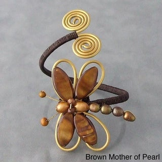 Cotton Brown/ Black/ White Shell and Pearl Dragonfly Brass Cuff (5-10 mm) (Thailand)