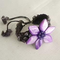 Handmade Cotton Mother of Pearl/ Amethyst Purple Flower Pull Bracelet (Thailand) - Thumbnail 1