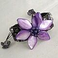 Handmade Cotton Mother of Pearl/ Amethyst Purple Flower Pull Bracelet (Thailand)