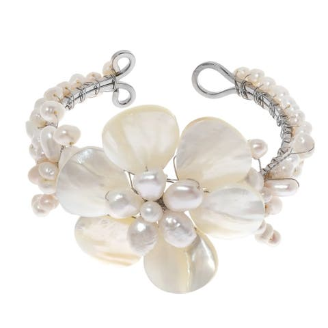 Handmade White Shell Flower and Beaded Pearl Cuff Bracelet (Thailand)