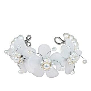 Handmade Triple Clear Quartz Flower and White Pearl Cuff (5-15 mm) (Thailand)