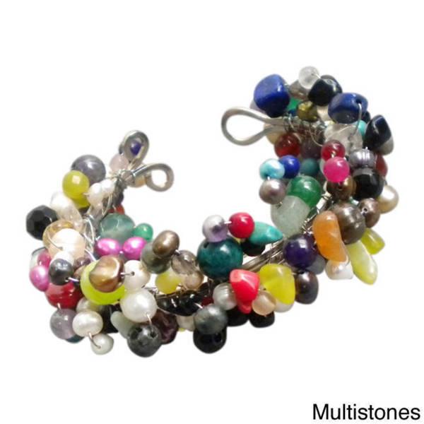 Handmade Dazzling Multi-gemstone and Pearl Organic Cuff (5-13 mm) (Thailand)