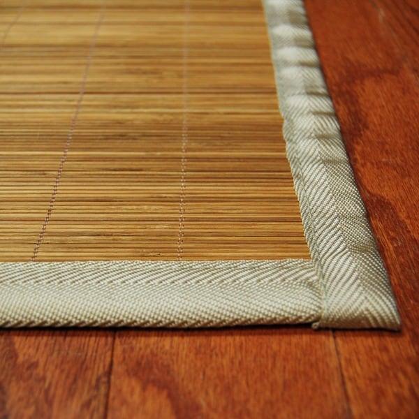 Asian Hand-woven Natural Rayon from Bamboo Rug (1'9 x 2'10)