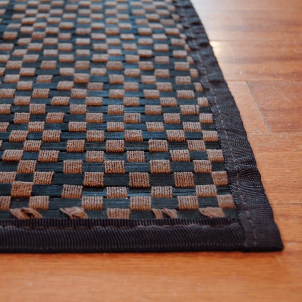 Asian Hand-woven Brown Checkered Rayon from Bamboo Rug (1'8 x 2'7)