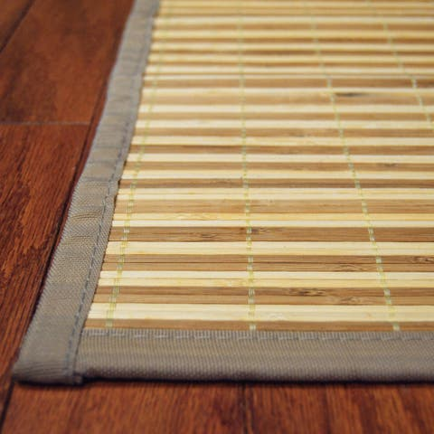Handmade Natural and Beige Rayon from Bamboo Rug