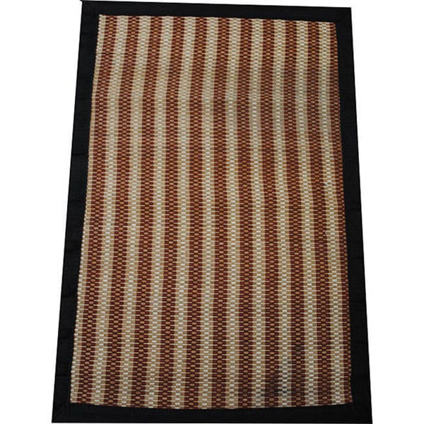 Asian Hand-woven Brown Striped Rayon from Bamboo Rug (2' x 3')