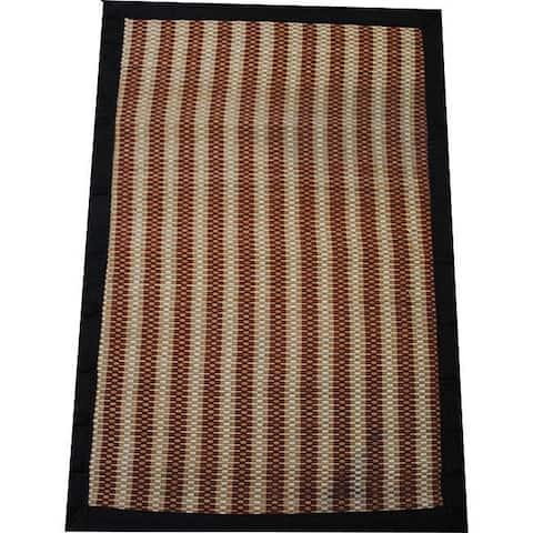 Handmade Brown Striped Rayon from Bamboo Rug