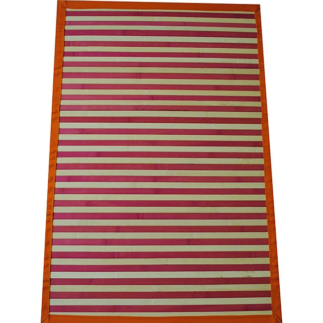 Asian Hand-woven Pink Striped Rayon from Bamboo Rug (2' x 3')