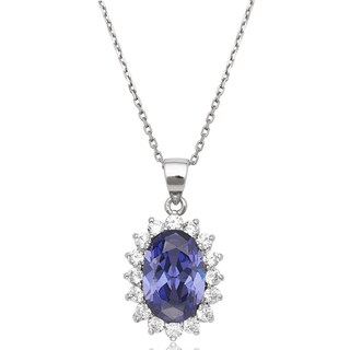 La Preciosa Sterling Silver Blue and Clear Cubic Zirconia Diana Necklace (4 options available)