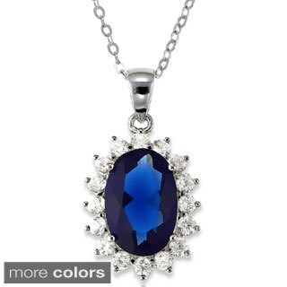 La Preciosa Sterling Silver Blue and Clear Cubic Zirconia Diana Necklace