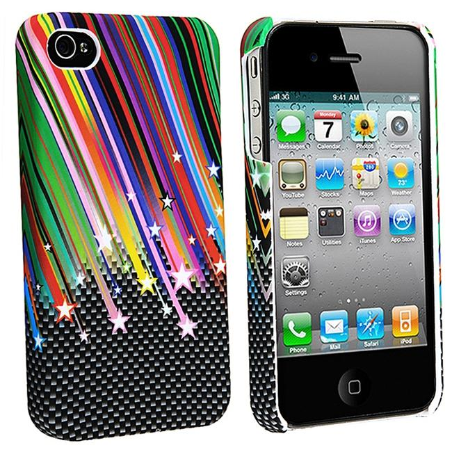 INSTEN Rainbow Star Slim Fit Rubber Coated Phone Case Cover for Apple iPhone 4