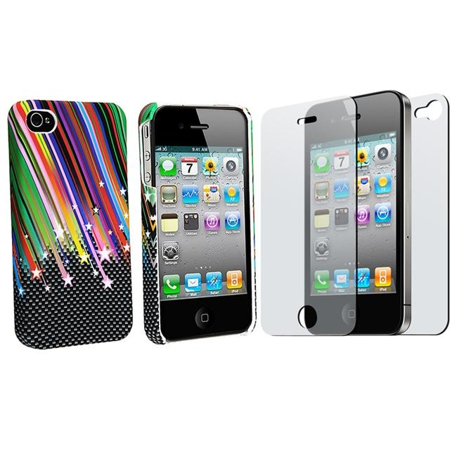 INSTEN Rainbow Star Rubber Phone Case Cover/ 2-piece Screen Protector for Apple iPhone 4