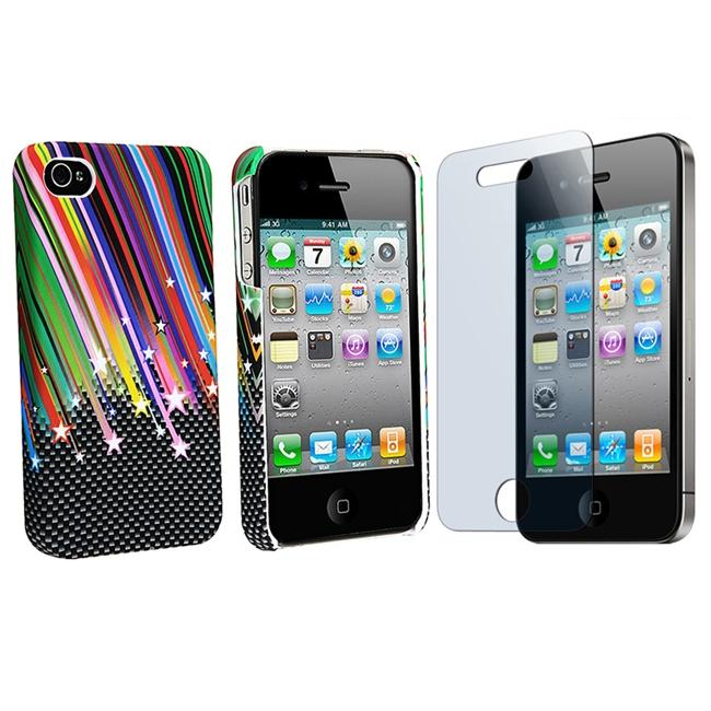 INSTEN Rainbow Star Rubber Phone Case Cover/ Screen Protector for Apple iPhone 4