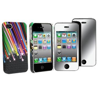 INSTEN Rainbow Star Rubber Phone Case Cover/ Mirror Screen Protector for Apple iPhone 4